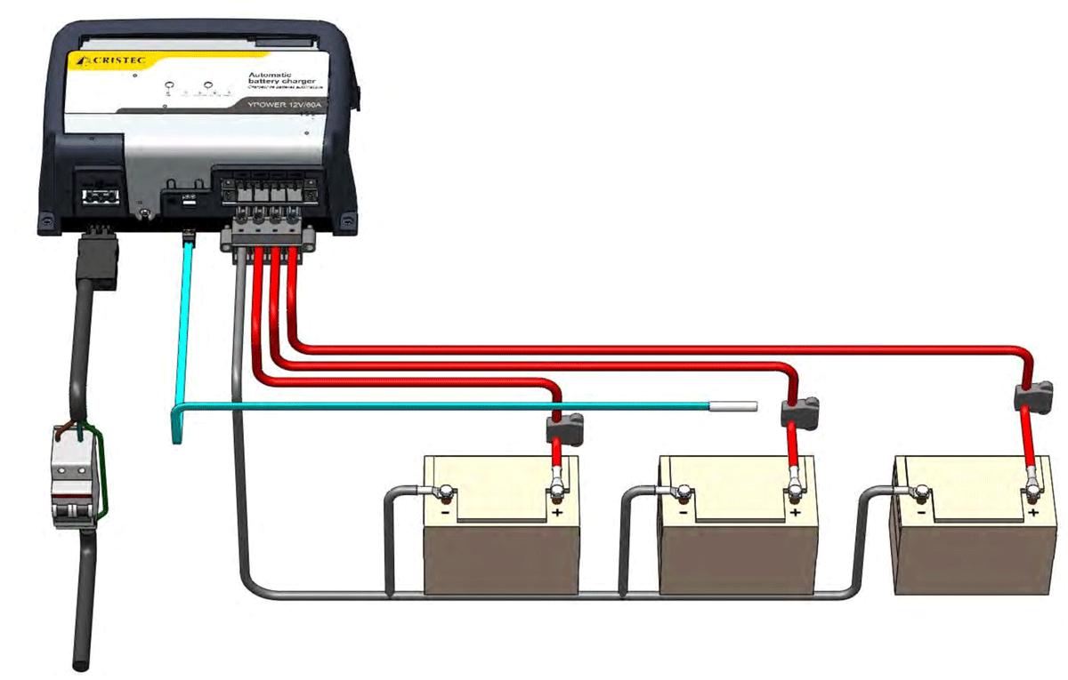 Conexiones de cargador de baterías
