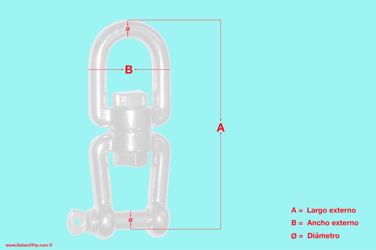 Grillete giratorio medidas