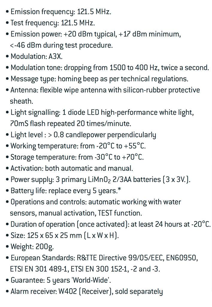 Wamblee Especificaciones técnicas