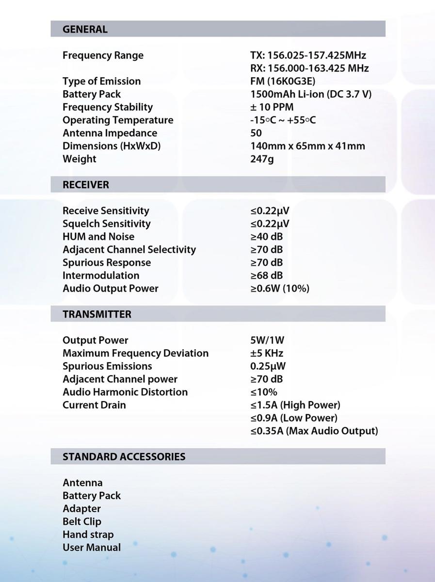 VHF KV-28 Especificaciones técnicas