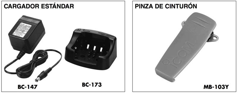 Accesorios suministrados para IC-GM1600E