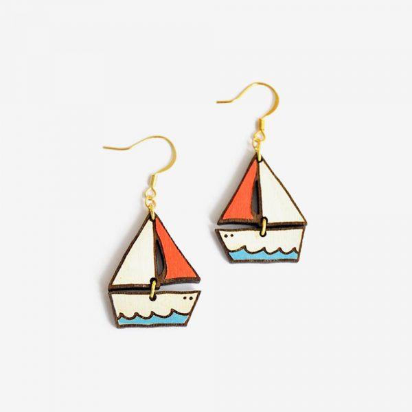 pendientes dreamy boat madera