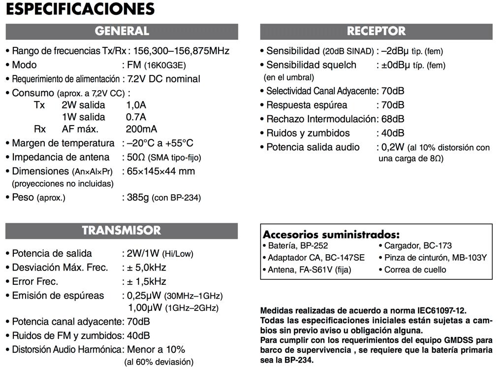 Especificaciones VHF ICOM IC GM1600E