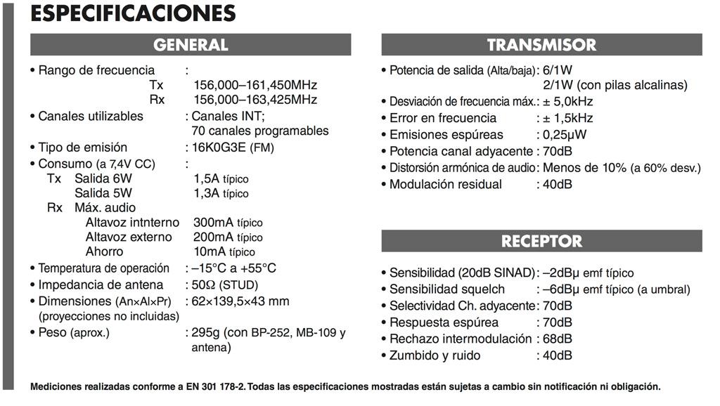 Especificaciones técnicas ICOM IC-M35