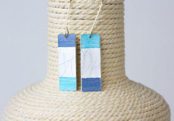 pendientes rectangular azul
