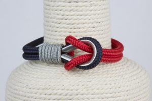 pulsera marinera hombre azul rojo gris