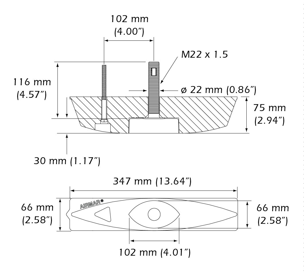 Dimensiones del transductor Airmar b45