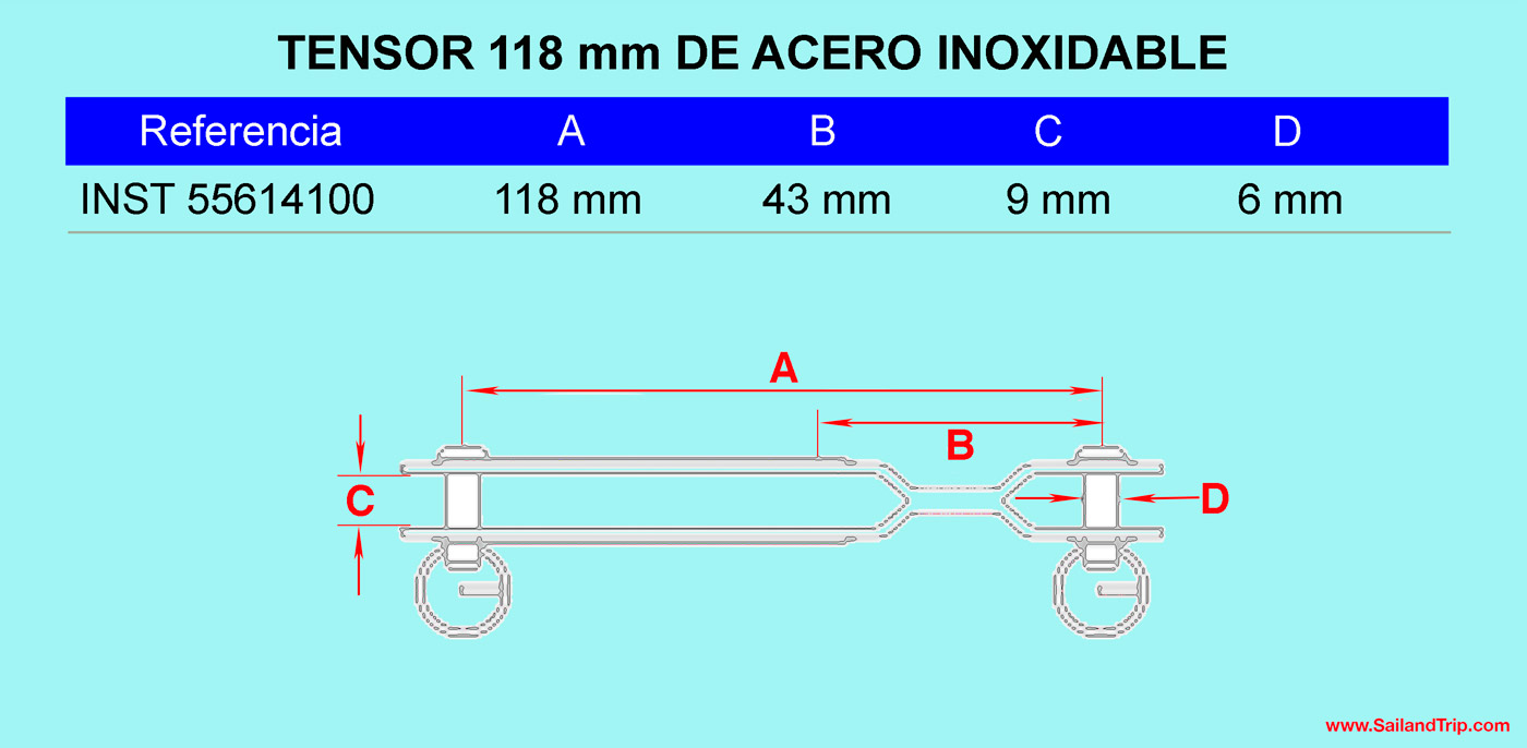Medidas tensor 118 mm