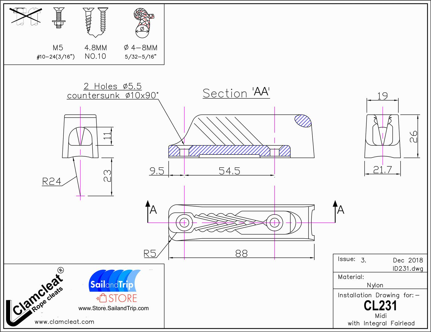 Instalación Clamclat CL231