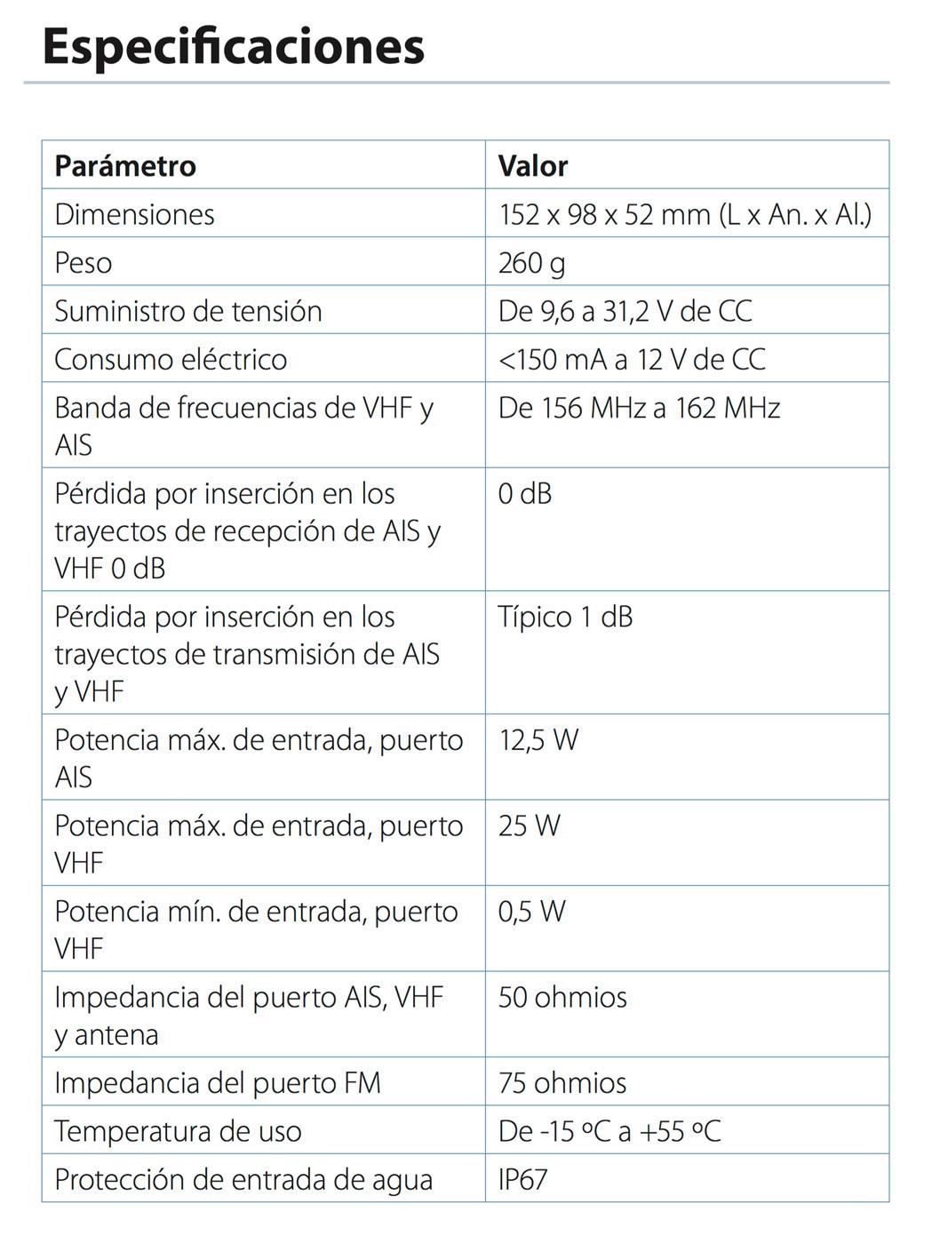 NSPL500 especificaciones