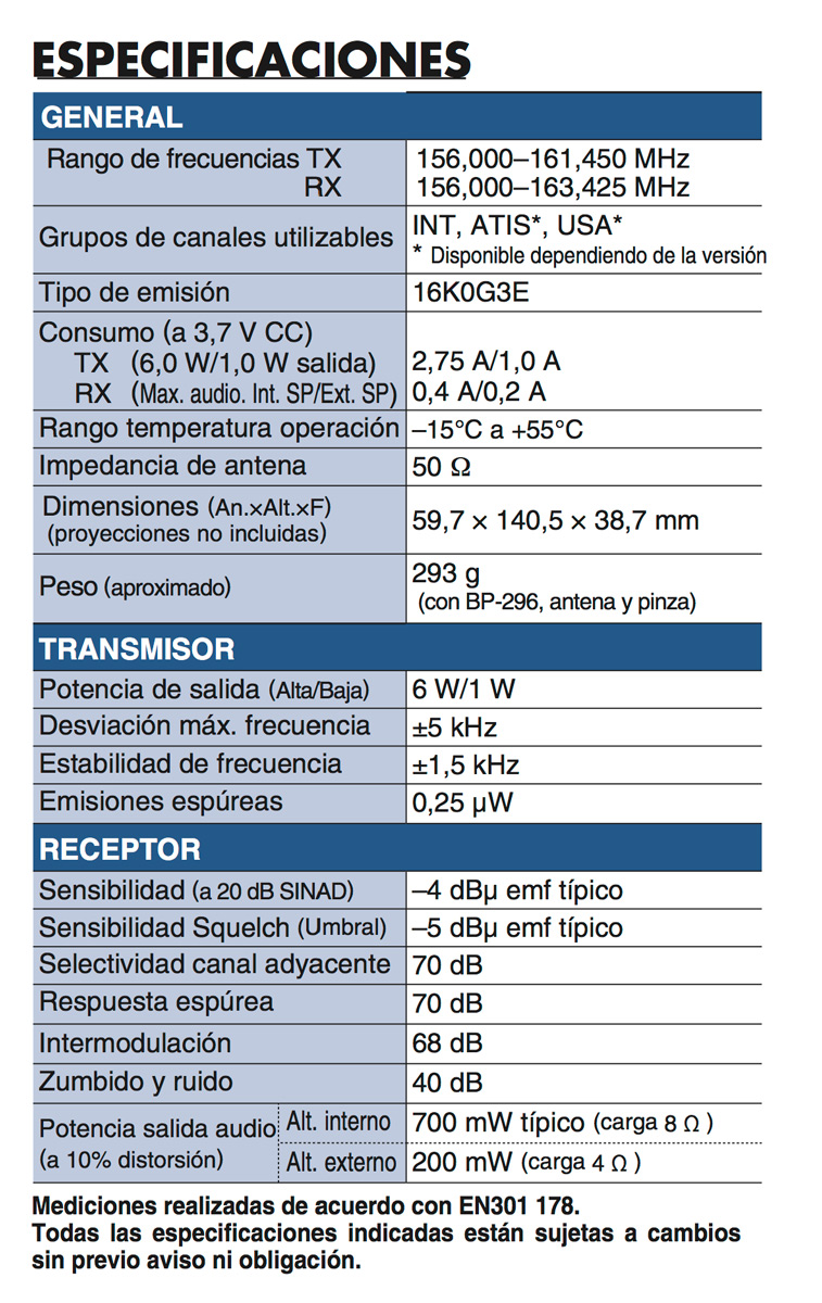 ICOM IC-M37E especificaciones